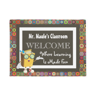 Personalized Teachers Fun Circles Welcome Doormat