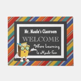 Personalized Teachers Fun Stripes Welcome Doormat