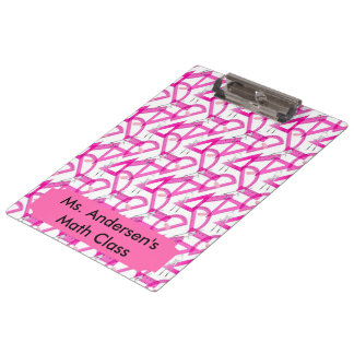 Personalized Teachers Pink Math Tools Clipboard