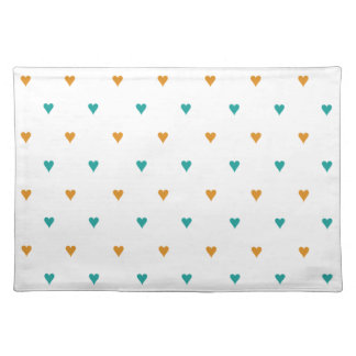 Personalized Teal and Rust Hearts Placemats