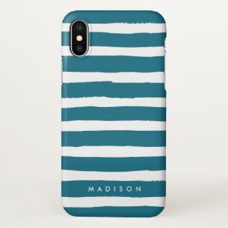 Personalized Teal and White Brushed Stripe iPhone X Case