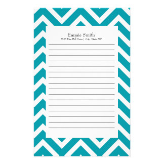 Personalized Teal and White Chevron Pattern Stationery