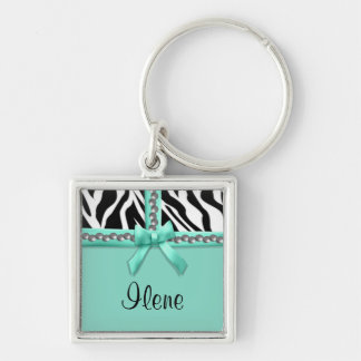Personalized Teal And White Zebra Stripes And Gems Silver-Colored Square Key Ring