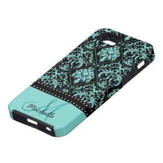 Personalized Teal Blue & Black Damask iPhone 5 Cases