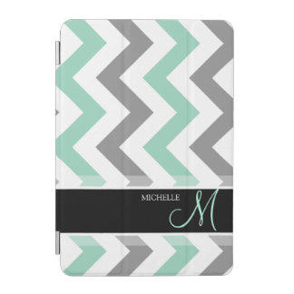 Personalized Teal blue, gray and white Chevrons iPad Mini Cover