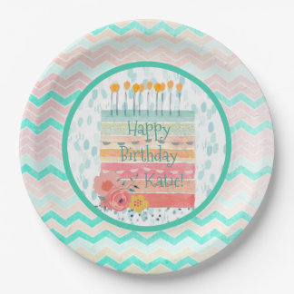 Personalized Teal Coral Birthday Cake Paper Plate