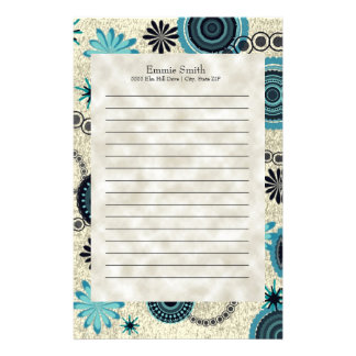 Personalized Teal Gray Black Floral Abstract Stationery