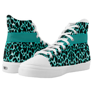 Personalized Teal  Leopard Animal Print High Tops Printed Shoes