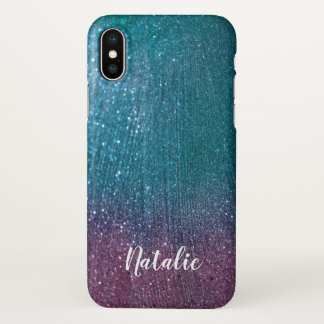 Personalized Teal Purple Glitter iPhone X case