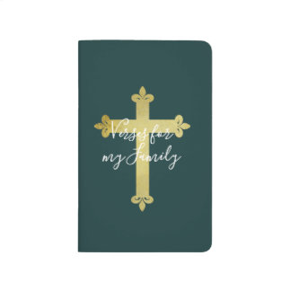 Personalized Teal with Gold Cross Pocket Journal