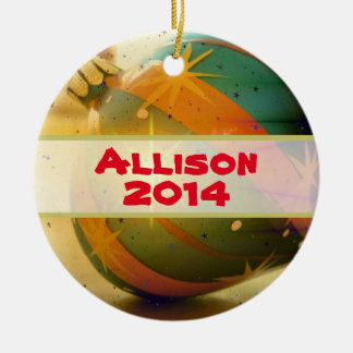 Personalized  Teardrop Shaped Christmas Ornament Round Ceramic Ornament
