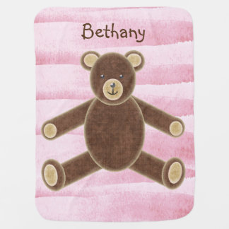 Personalized Teddy Bear Baby Blanket - pink