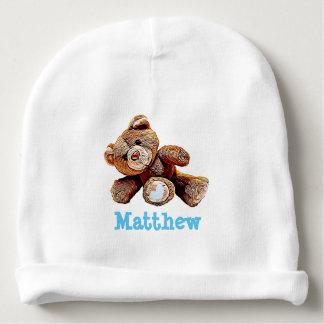 Personalized Teddy Bear Blue Baby Boy Cap Baby Beanie