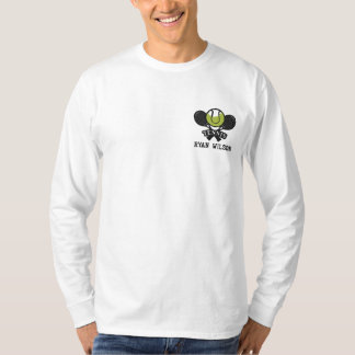 Personalized Tennis Ball and racket embroidered Embroidered Long Sleeve T-Shirt
