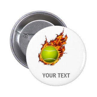 Personalized Tennis Ball on Fire Tennis Theme Gift 6 Cm Round Badge