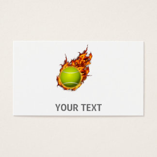 Personalized Tennis Ball on Fire Tennis Theme Gift Business Card