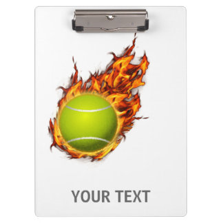 Personalized Tennis Ball on Fire Tennis Theme Gift Clipboard