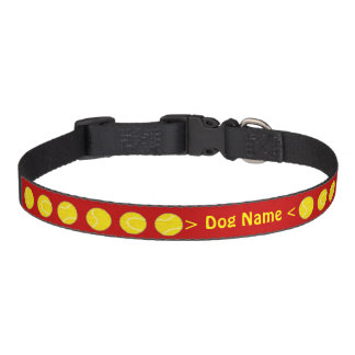 Personalized tennis ball red collar with pet name dog collar