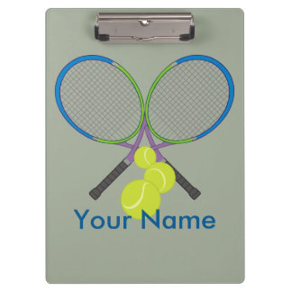 Personalized Tennis Crossed Rackets Clipboard