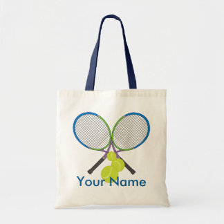 Personalized Tennis Crossed Rackets Tote Bag