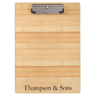 Personalized text on light wood boards clipboard