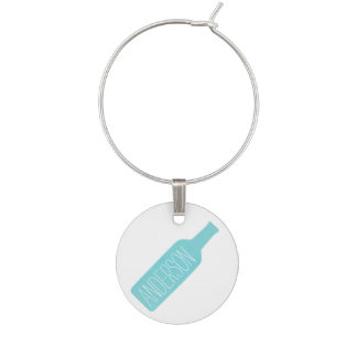 Personalized Text with Blue Bottle Illustration Wine Charm