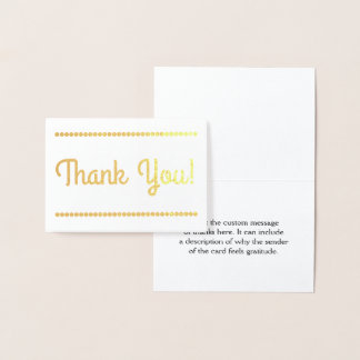"Personalized ""Thank You!"" Card, With Circle Shapes Foil Card"