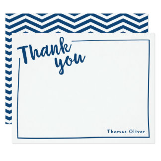 Personalized Thank You Flat Note, Navy Blue Script 11 Cm X 14 Cm Invitation Card