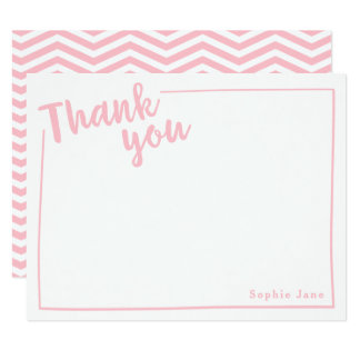 Personalized Thank You Flat Note, Pink Script Card