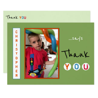 Personalized Thank you from little boy photo Card
