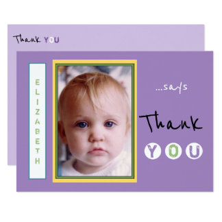 Personalized Thank you from little girl photo Card