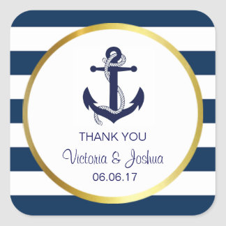 Personalized Thank You Nautical Navy Gold Wedding Square Sticker