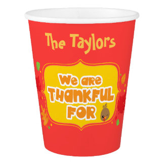 Personalized Thanksgiving Dinner Paper Cup