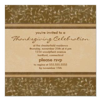 "Personalized Thanksgiving Leaves Invitations 5.25"" Square Invitation Card"