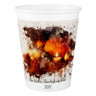 Personalized Thanksgiving Watercolor Paper Cup