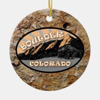 Personalized The Flatirons, Boulder Colorado Ceramic Ornament