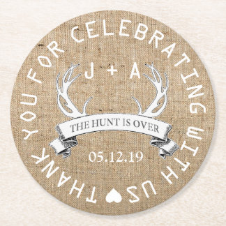 Personalized The Hunt is Over Wedding Favor Round Paper Coaster