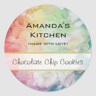 Personalized Thick Textured Abstract Paint Kitchen Round Sticker