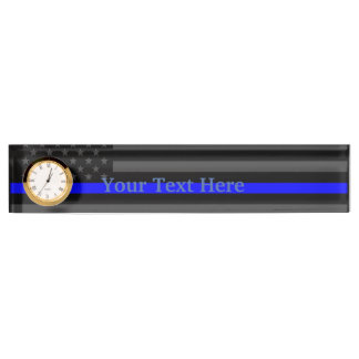 Personalized Thin Blue Line American Flag Decor Nameplate