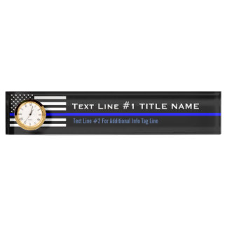 Personalized Thin Blue Line American Flag on a Name Plate