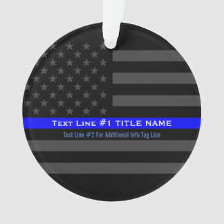 Personalized Thin Blue Line Grey US Flag on a Ornament