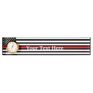 Personalized Thin Red Line American Flag Display Name Plate