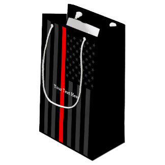 Personalized Thin Red Line Grey US Flag Decor Small Gift Bag