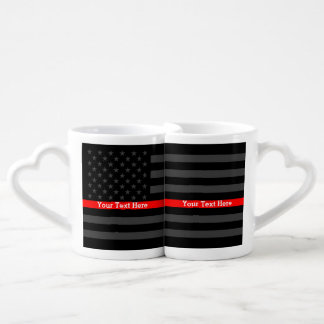 Personalized Thin Red Line Grey US Flag set on a Coffee Mug Set