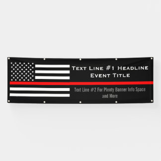 Personalized Thin Red Line US Flag Medium Display Banner