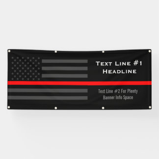 Personalized Thin Red Line USA Flag Handy Display Banner
