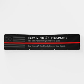 Personalized Thin Red Line USA Flag Long Display Banner
