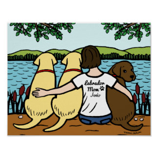 Personalized Three Labradors and Mom Poster