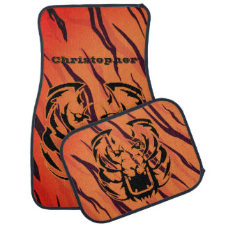 Personalized Tiger Stripe Head Growling Face Car Mat