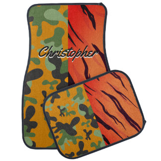 Personalized Tiger Stripes Orange Black Camouflage Car Mat